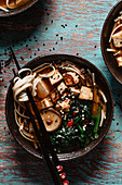 Asian miso soup with rice noodles, mushrooms and tofu