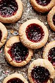 Thumbprint cookies with raspberry jam