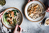 A healthy multigrain porridge with a savoury topping of miso roasted salmon and bok choy, and a sweet version with spiced pears and hazelnuts