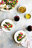 Kale Radish Salad with Roasted Yellow Pepper Pesto Vinaigrette