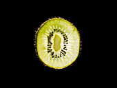 Backlit portrait of a kiwi slice