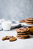 Chocolate chip, almond and date cookies