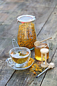 Flower tea with honey