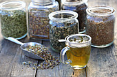 Various herbal and flower teas in glasses