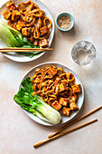 Teriyaki noodles with fried tofu and bok choi.