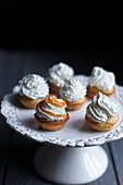Mini muffins with whipped cream