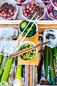 Japanese market stall sell inckles (Tsukemono)