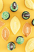 Cupcakes and cookies for a rugby party