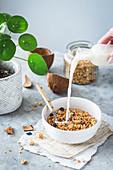 Pouring coconut milk into a bowl of homemade granola
