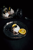 Mini Pavlova with black caviar