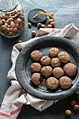 Freshly baked gluten-free hazelnut biscuits made with cocoa