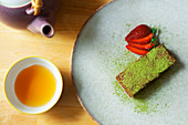 Soft Matcha Chocolate cake and combu tea