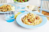 Spaghetti Carbonara mit Pulled Chicken
