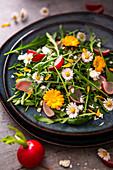 Arugula salad with daisies and radishes