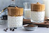 Dalgona Coffee with homemade coffee liqueur