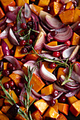 Braised pumpkin with red onions, cranberries and rosemary