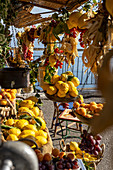 Lemons and fruits being sold from a street cart, Amalfi Coast, Italy