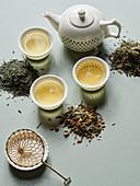 Verschiedene Sorten japanischer Grüntee als Teeblätter und aufgebrüht