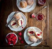 Raspberry jam filled donuts
