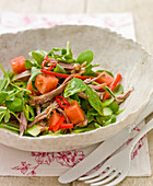 Salad of duck, melon, chilli and watercress
