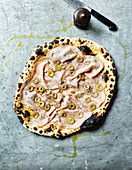 Pizza Mortadella with parmesan, garlic and fior di latte