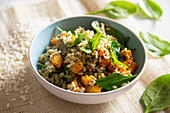 Integral rice with spinach, mustard and pumpkin