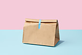 A closed paper bag against a blue and pink background