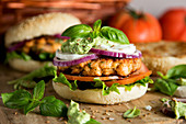 Salmon burguer with mozzarella and basilicum cream