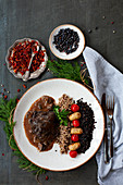 Beef cheeks with sides and spices