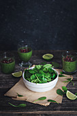 Spinach bowl and green spinach smoothie.