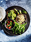 Mexican dishes to make up fajitas