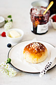 Pikkupullat (small sweet Finnish roll with sugar nibs)