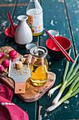 Sesame oil, ginger and vegetables