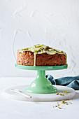 Irish apple cake with matcha custard drizzle