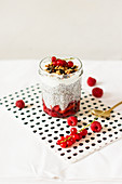 Chia pudding with fresh berries and granola
