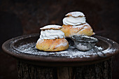Semlor (yeast dough pastries filled with almonds and whipped soya cream, Sweden)