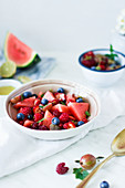 Summer fruit salad with berries and watermelon