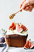 Honey cake with cream cheese frosting and figs