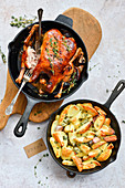 Roast duck and baked potatoes