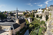 A view from the ramparts of Casemates du Bock overlooking the Church of Saint John in Grund, Luxembourg