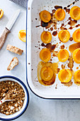 Caramelised apricots with crumbles