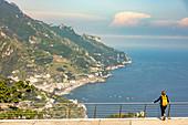 A view of Minori from the Oscar-Niemeyer Auditorium, Ravello, Campania, Italy