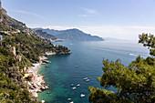 A view of Conca dei Marini from the main road, Campania, Italy