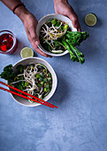 One-pot broccoli pho with chilli oil