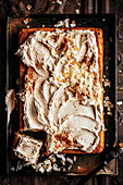 Carrot snack cake with coconut chai icing