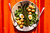 Green asparagus with peas, potatoes and boiled eggs