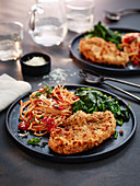 Turkey schnitzel á la milanese with spaghetti and spinach