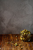 Pistachios in a screw-top jar