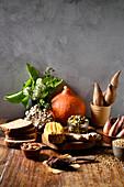 Zutaten für Wurzelgemüse-Laksa mit Buchweizen und Toast