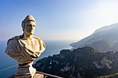 Terrazza dell'Infinito with a bust, Villa Cimbrone, Ravello, Campania, Italy